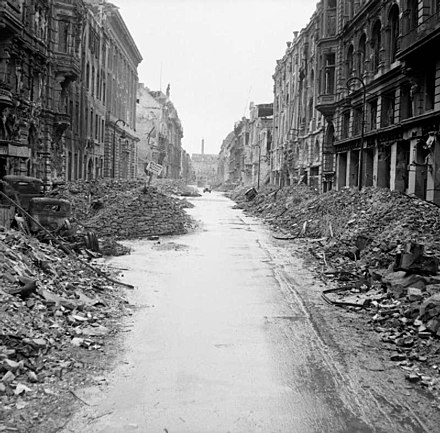 A devastated street in the city centre just off the Unter den Linden, 3 July 1945. Destruction in a Berlin street.jpg