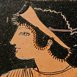 Thetis - Head of Thetis from an Attic red-figure pelike, c. 510–500 BC, Louvre.