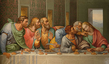 Detail of the Da Vinci's The Last Supper by Giacomo Raffaelli, Vienna.jpg