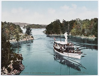 Thousand Islands - Historical postcard views of Alexandria Bay (left) and a steamboat touring Lost Channel, c. 1900