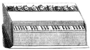 "Cat organ - Depiction in 1858 Die Gartenlaube short, ""Katzen-Orgel"""
