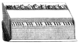 "Cat organ - Depiction in 1858 Die Gartenlaube short, ""Katzen-Orgel"""