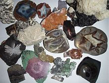 A photograph of a collection of different minerals