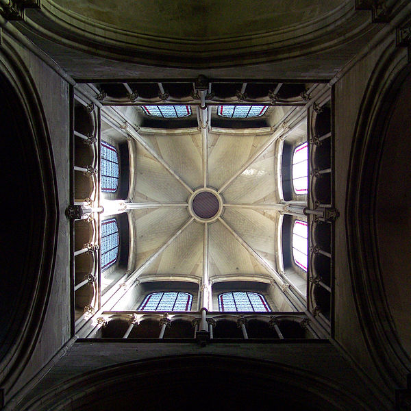 View up the crossing tower of the church of Notre-Dame in Dijon