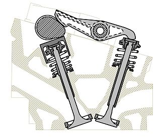 Overhead camshaft - Section of a Triumph Dolomite Sprint cylinder head, highlighting the single cam operating both inlet (directly) and exhaust (through a rocker arm) valves.