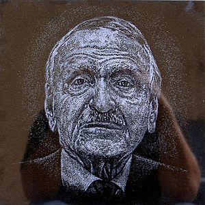 Luis A. Ferré - Hand-etched portrait over black granite by artist Osvaldo Torres at Cruzacalles, Mayagüez, Puerto Rico.