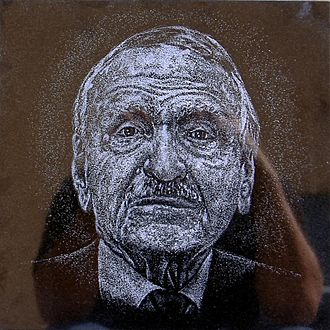 Luis A. Ferré - Hand-etched portrait over black granite by artist Osvaldo Torres at Cruzacalles, Mayagüez, Puerto Rico.