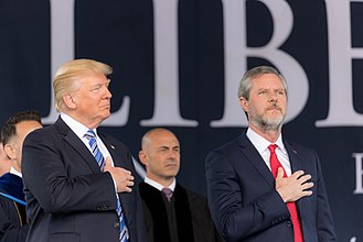 Christian right - Jerry Falwell Jr. and Donald Trump at Liberty University.