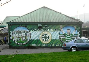 Donegal Celtic F.C. - Mural on the side of the DC social club, beside Donegal Celtic Park