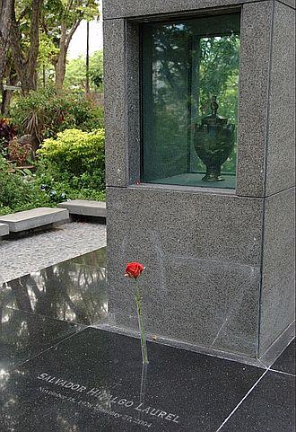Salvador Laurel - Laurel's cremains are interred at the Libingan ng mga Bayani.