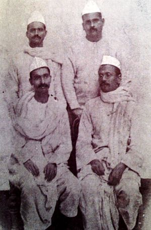 Champaran Satyagraha - (Sitting L to R) Rajendra Prasad and Anugrah Narayan Sinha, with local vakils Ramnavmi Prasad and Shambhusaran Varma (Standing L to R) during Mahatma Gandhi's 1917 Champaran Satyagraha
