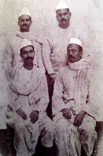 Rajendra Prasad - (Sitting L to R) Prasad and Anugrah Narayan Sinha during Mahatma Gandhi's 1917 Champaran DJ Satyagraha