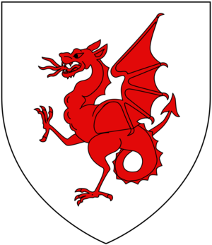 Richard Drake - Arms of Drake of Ash: Argent, a wyvern wings displayed and tail nowed gules