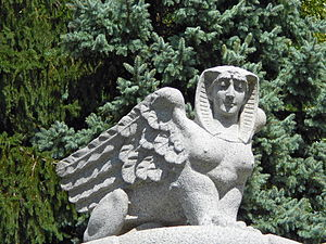 West Laurel Hill Cemetery - Sphinx on the Drake tomb