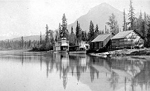 Marion (sternwheeler) - Marion (smaller vessel nearest to dock) and ''Duchess'' at the north end of Columbia Lake ca 1890