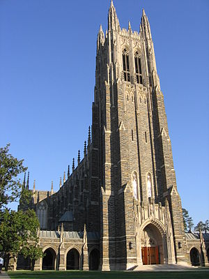 Duke University - Duke Chapel, an icon for the university, can seat nearly 1,600 people and contains a 5,200-pipe organ.
