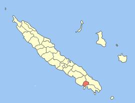 Ubicación de la comuna (en rojo) dentro de Nueva Caledonia