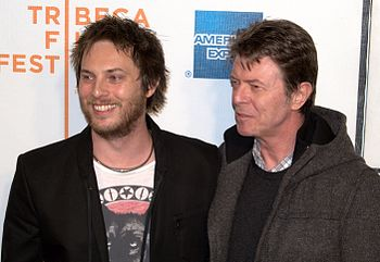 English: Duncan Jones with his father David Bo...