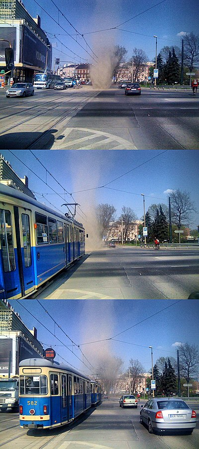 A dust devil in Cracow, Poland. Dust devil krakow.jpg