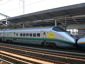 Pokémon - Shinkansen E3 Series train in Pokémon livery.
