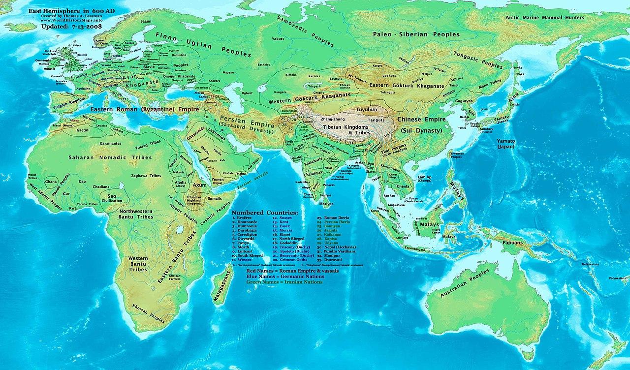 Западный и Восточный Тюркский каганат около 600 г.