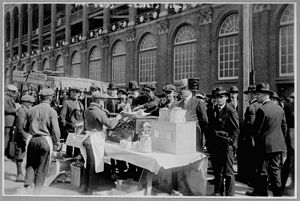 Fans line up for hot dogs at Ebbets Field.