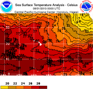 Thermal equator - Sea Surface Temperature Analysis clearly shows highest temperatures (28°C and more) along the 10° North latitude and not along the geographic equator. The reasons are the two cold currents: California Current at Northeast and Humboldt Current along the equatorial line. Hawaiian Islands (in white) have higher temperatures than the equatorial line near the coast of South America because cold waters from upwelling along California Coast are farther away than Thermic Equator and, therefore, these cold waters warm up for several thousands of km.