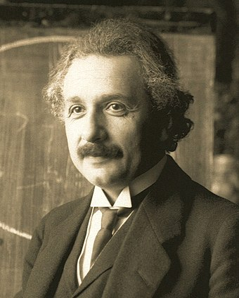 Albert Einstein (1879-1955), whose work on the photoelectric effect and the theory of relativity led to a revolution in 20th century physics Einstein1921 by F Schmutzer 2.jpg