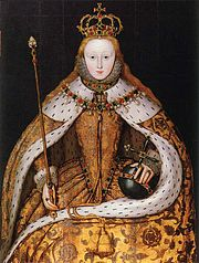Elizabeth I in her coronation robes, patterned with Tudor roses and trimmed with ermine. She wears her hair loose, as traditional for the coronation of a queen, perhaps also as a symbol of virginity. The painting dates to the first decade of the seventeenth century and is based on a lost original.