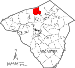 Map of Lancaster County highlighting Elizabeth Township