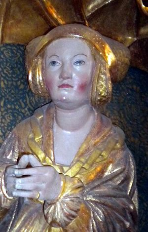 Elizabeth of Denmark, Electress of Brandenburg - Sculpture of Elizabeth from the altarpiece by Claus Berg in St. Canute's Cathedral, Odense (c. 1530)