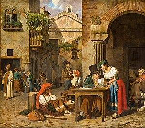 Ernst Meyer (painter) - Image: En romersk gadeskriver læser et brev for en ung pige