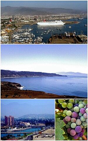 Ensenada, Baja California - Images from top, left to right: Carnival Paradise docked in the Port of Ensenada, Bahía Todos Santos, Villa Marina Hotel, Grapes from the Guadalupe Valley