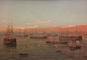 Painting of numerous ships in front of a bay.