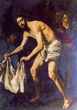 Christ gathering his robes