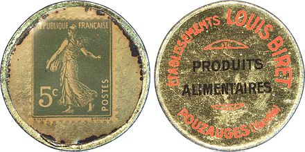 A French notgeld coin, using a 5 centimes postage stamp to provide an indicator of value, 1920s.