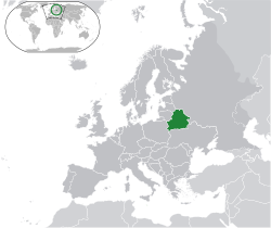 Location of  Belarus  (green)in Europe  (dark grey)  —  [Legend]