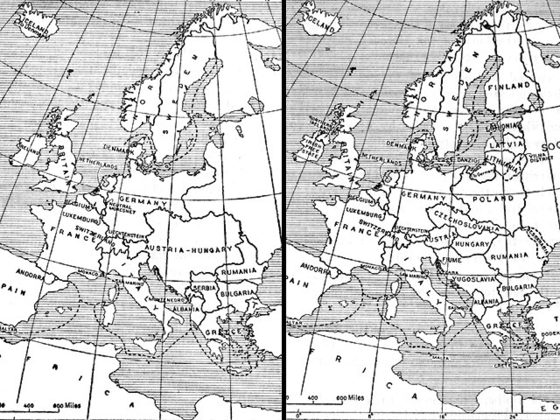 Europe before and after the First World War. Europe 1914 and 1924.png