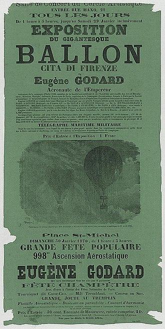 Eugène Godard - Image: Exposition du ballon d'Eugène Godard 1870