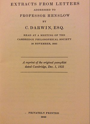Extracts from Letters to Henslow - The front page of the 1960 reprint of Extracts from Letters to Henslow with a similar distribution to the original of 1835 - members and associates of the Cambridge Philosophical Society.