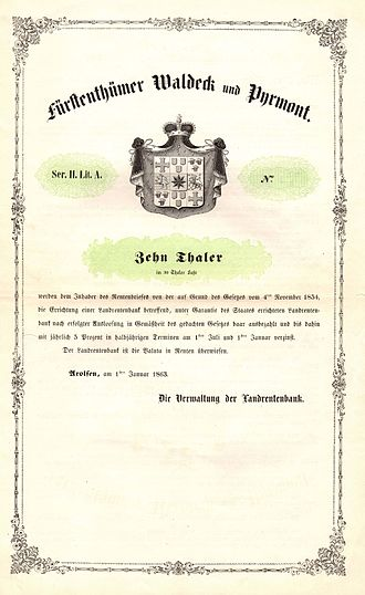 Principality of Waldeck and Pyrmont - Government bond of the Principality Waldeck and Pyrmont, issued 1. January 1863