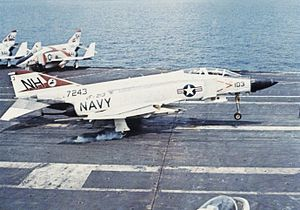 F-4J VF-213 landing on USS Kitty Hawk (CVA-63) 1972.jpg