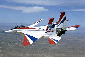 Supermaneuverability - The F-15 ACTIVE in flight; the design is a modified F-15 Eagle with vectored thrust and canards.