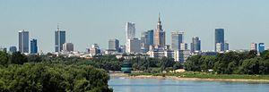Śródmieście, Warsaw - View of Śródmieście from the Siekierkowski Bridge