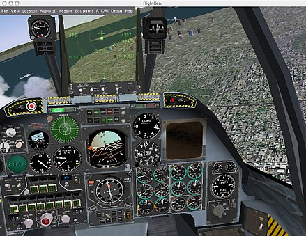 FlightGear is a flight simulation game. FG-A-10.jpg