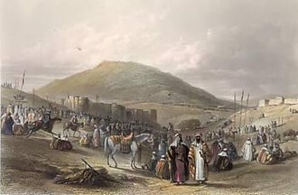Khan al-Tujjar (Mount Tabor) - A fair at Khan al-Tujjar around 1850, by W. H. Bartlett
