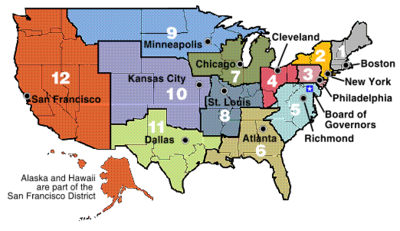 Les douze districts de la réserve fédérale
