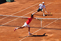 Feliciano López and Mischa Zverev in the 2009 Davis Cup semifinals 01.jpg