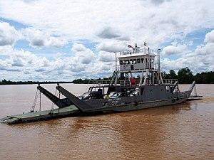 Rajang River - Ferry crossing the Rajang River in Bintangor.
