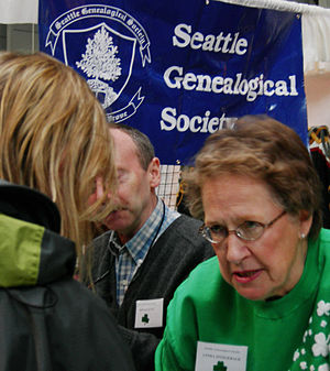 Seattle Genealogical Society booth, Festál Iri...